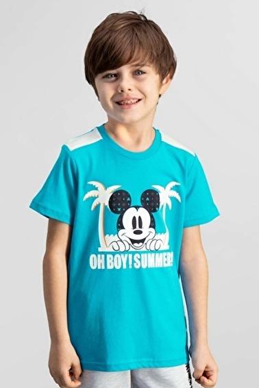 Mickey Mouse Mickey & Minnie Mouse Lisanslı Deniz Mavisi Erkek Çocuk T-Shirt Mavi